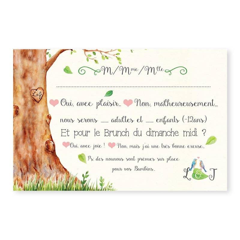 Carton reponse mariage arbre aquarelle romantique chic