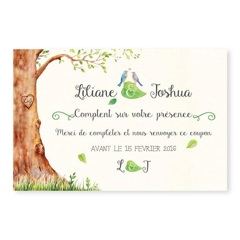 Carton reponse mariage arbre aquarelle romantique chic v