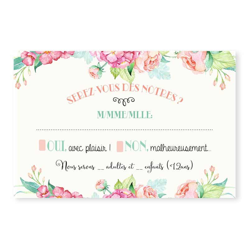 Carton reponse mariage fleurs hortensia feuillage mint chic champetre v
