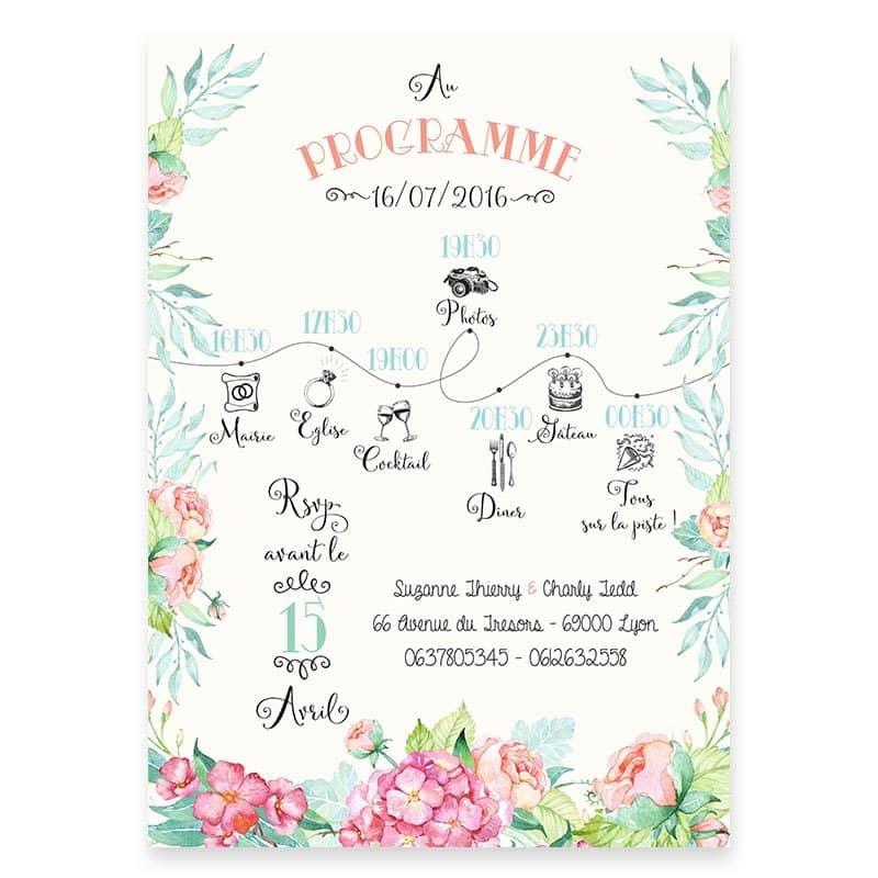faire-part mariage chic fleurs hortensia feuillage mint