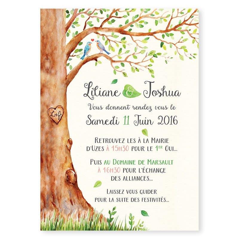 faire-part mariage arbre aquarelle mariage nature romantique