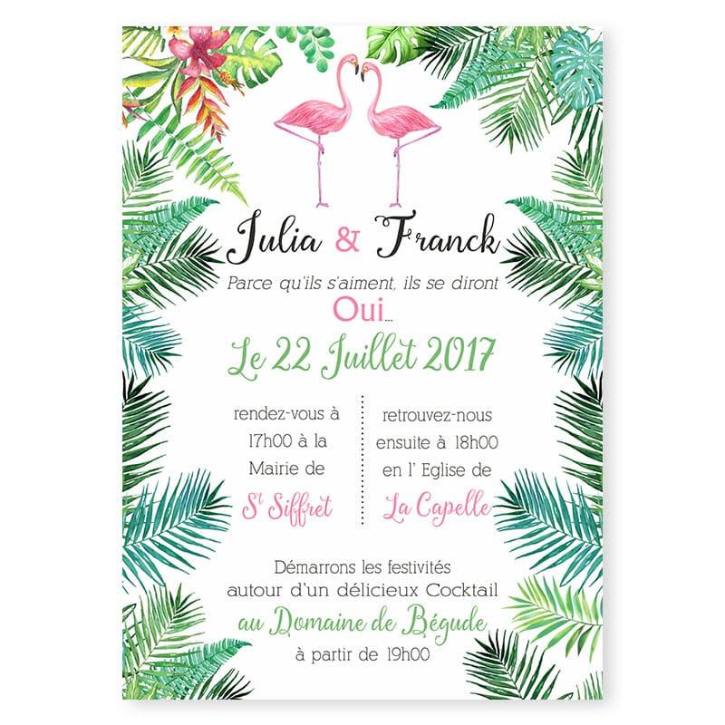 Faire Part Mariage Exotique Fleurs Oiseaux Du Paradis Et Palmiers