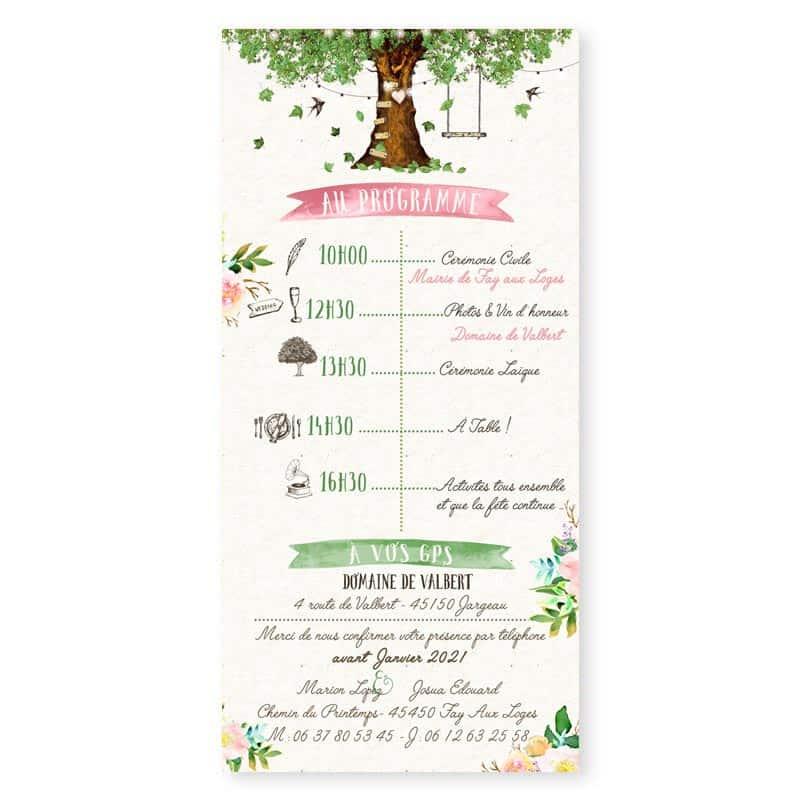 Faire-part mariage arbre nature romantique chic programme