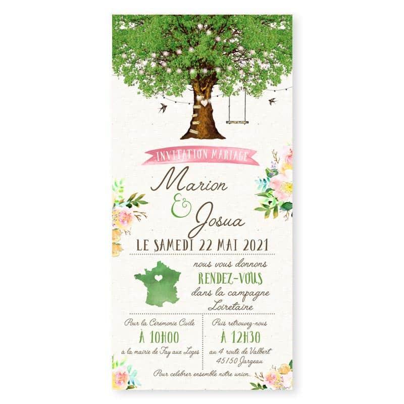 Faire-part mariage arbre nature romantique chic