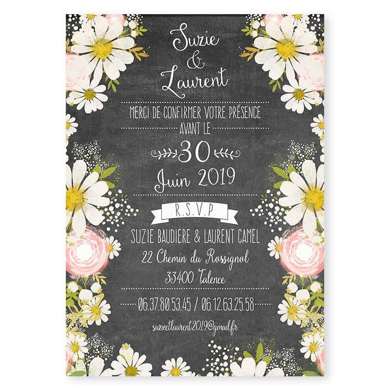 Faire-part mariage ardoise fleurs romantiques