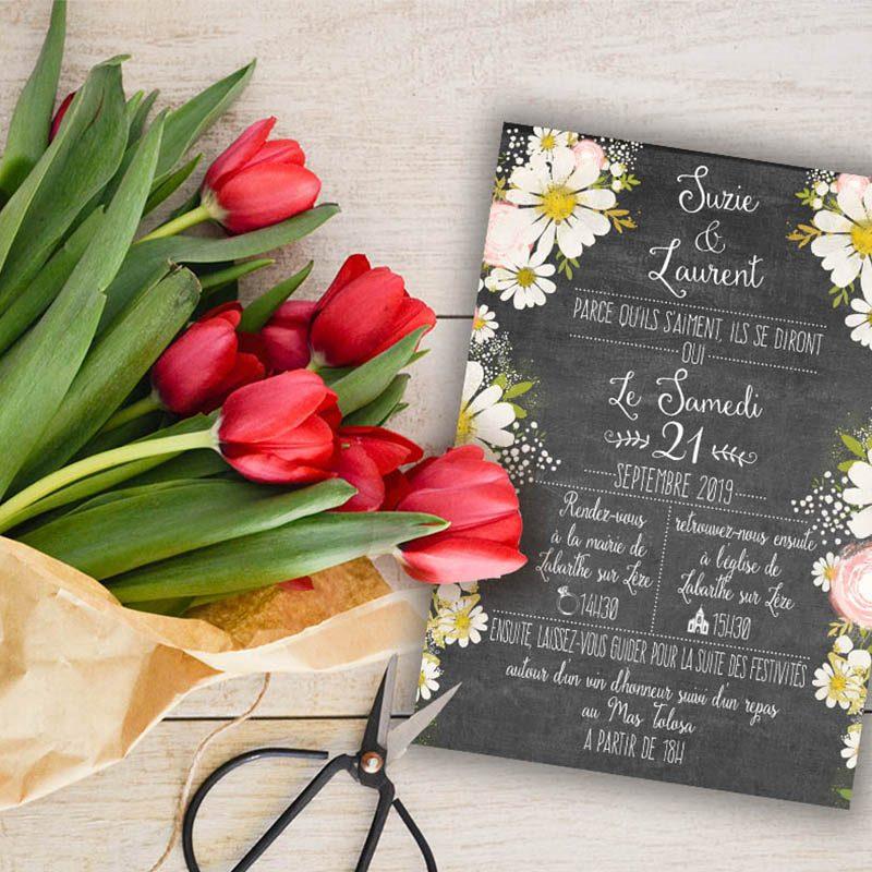 Faire-part mariage ardoise vintage fleurs romantique chic