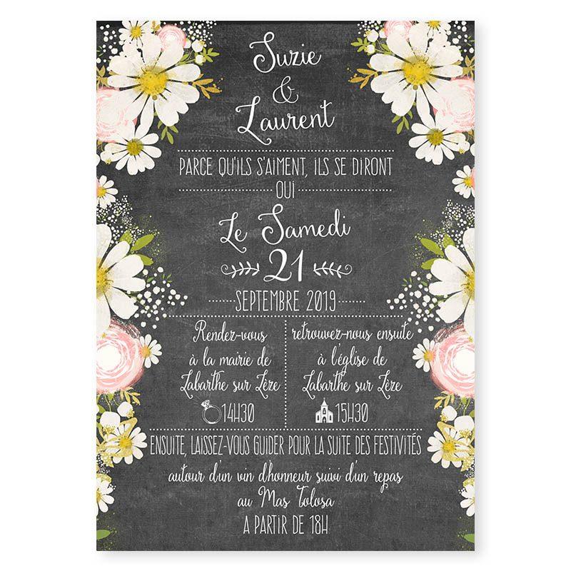 Faire-part mariage ardoise vintage fleurs romantiques