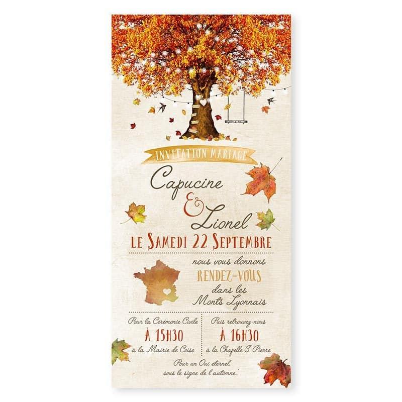 Faire-part mariage automne arbre automnale mariage romantique