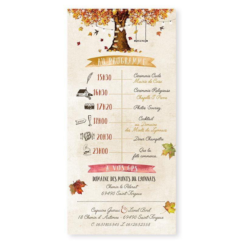Faire-part mariage automne arbre automnale mariage romantique chic