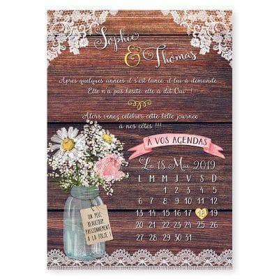 Faire-part mariage bois dentelle fleurs mariage champêtre chic