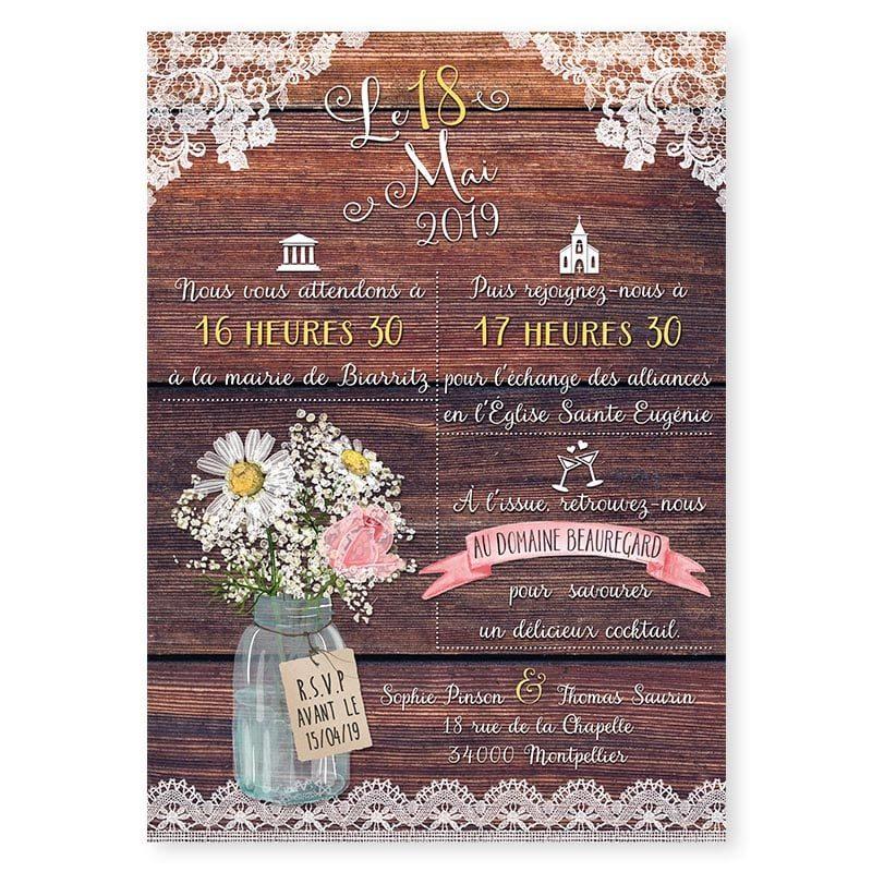 Faire-part mariage bois dentelle fleurs mariage champêtre rustique