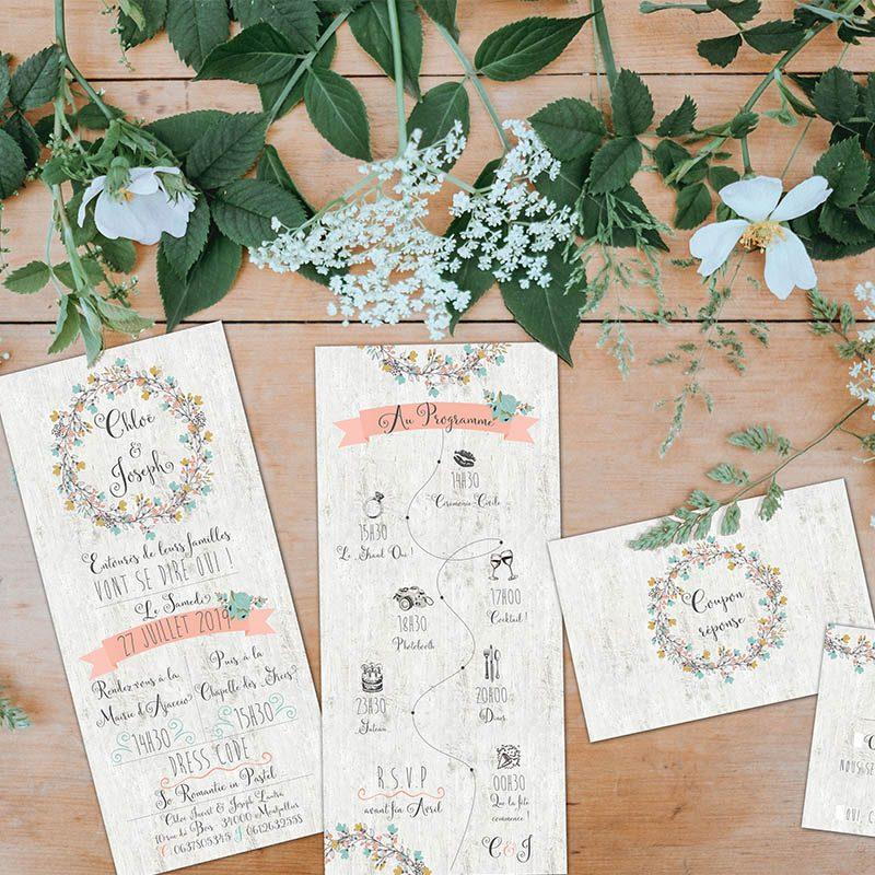 Faire-part mariage couronne de fleur champetre