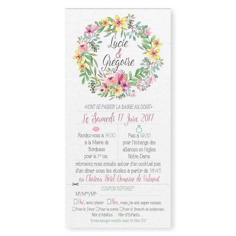 Faire-part mariage couronne de fleurs aquarelle