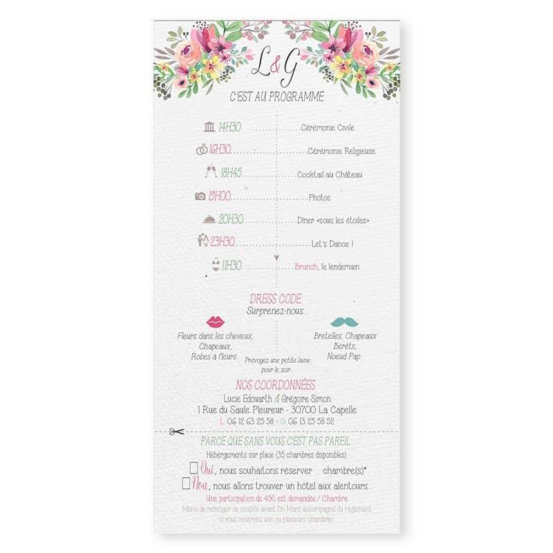 Faire-part mariage couronne de fleurs aquarelle avec programme