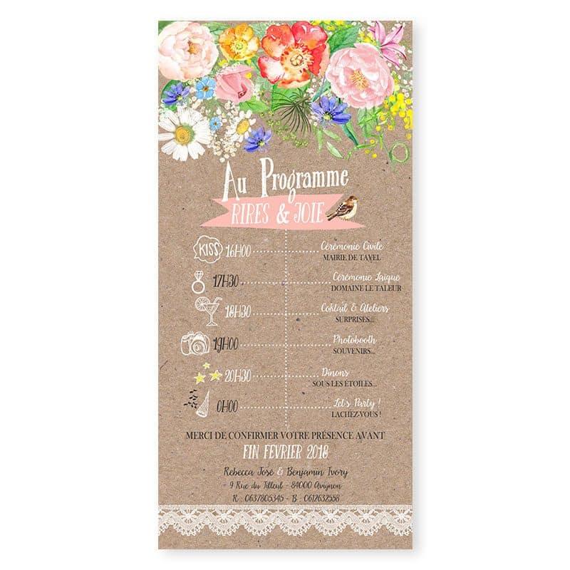 faire-part mariage kraft dentelle pastel fleurs romantique
