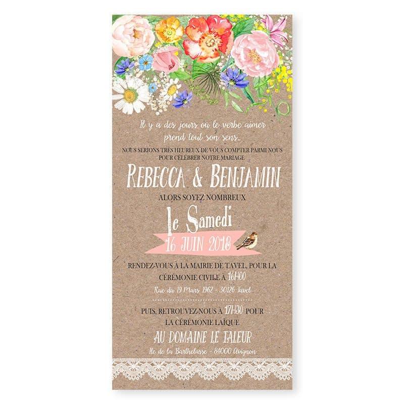 faire-part mariage romantique kraft dentelle fleurs aquarelle