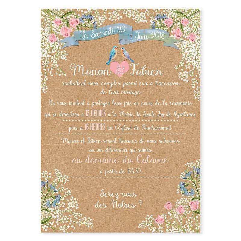 Faire-part mariage kraft et fleurs gypsophile mariage champetre et romantique