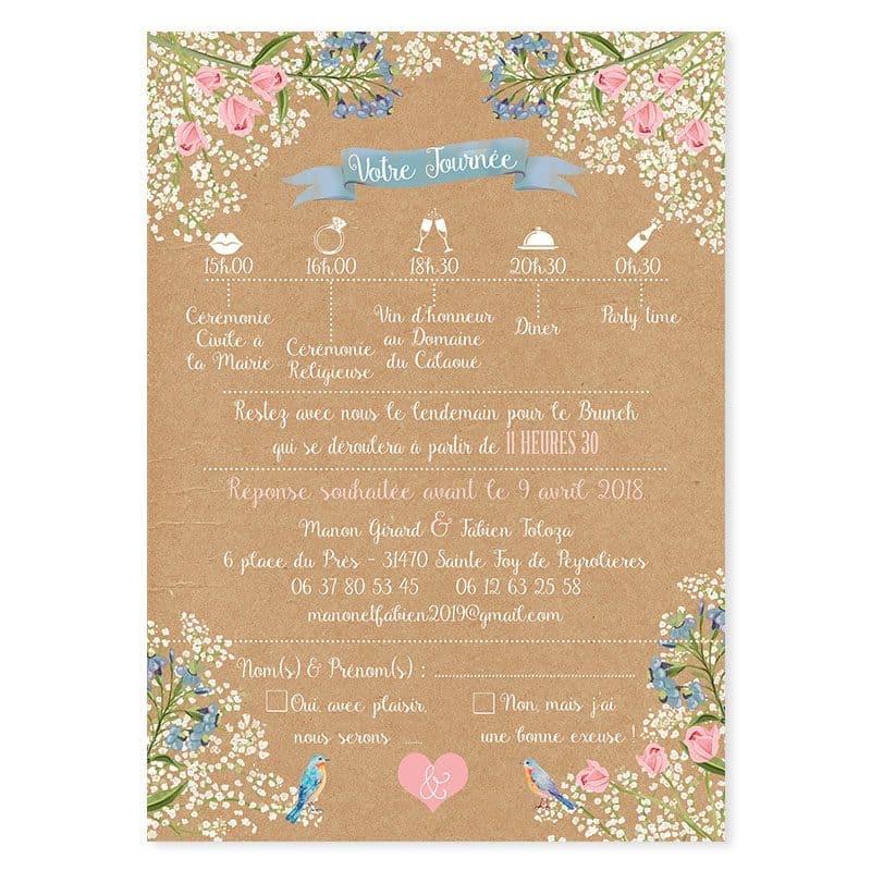 Faire-part mariage kraft fleurs gypsophile mariage champetre et romantique