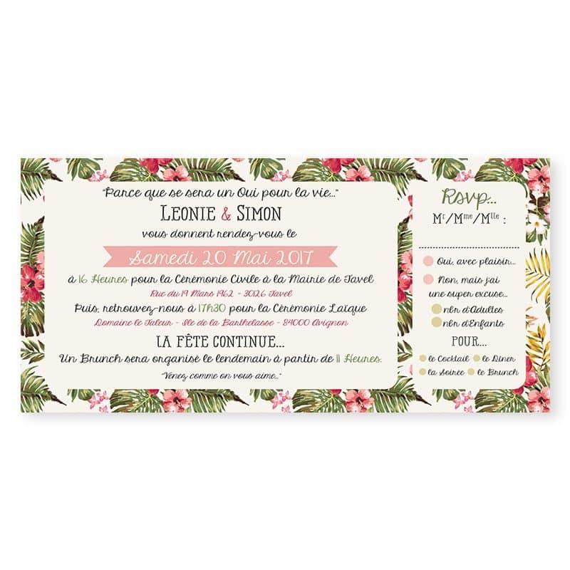 Faire-part mariage liberty tropical mariage exotique