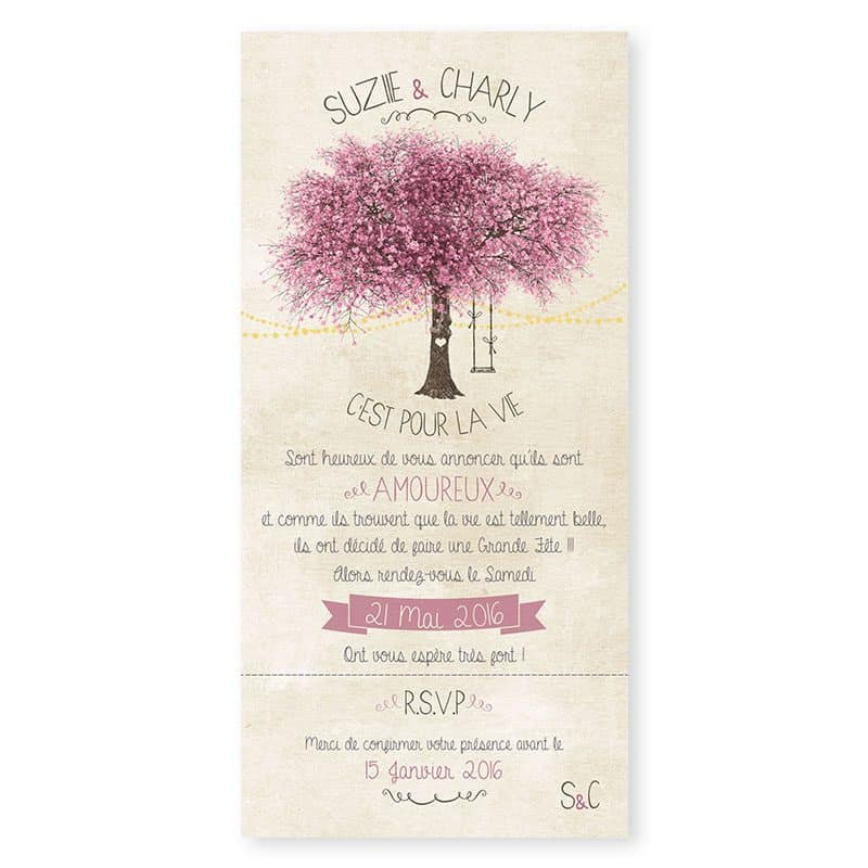 Faire-part mariage nature arbre en fleurs vintage chic