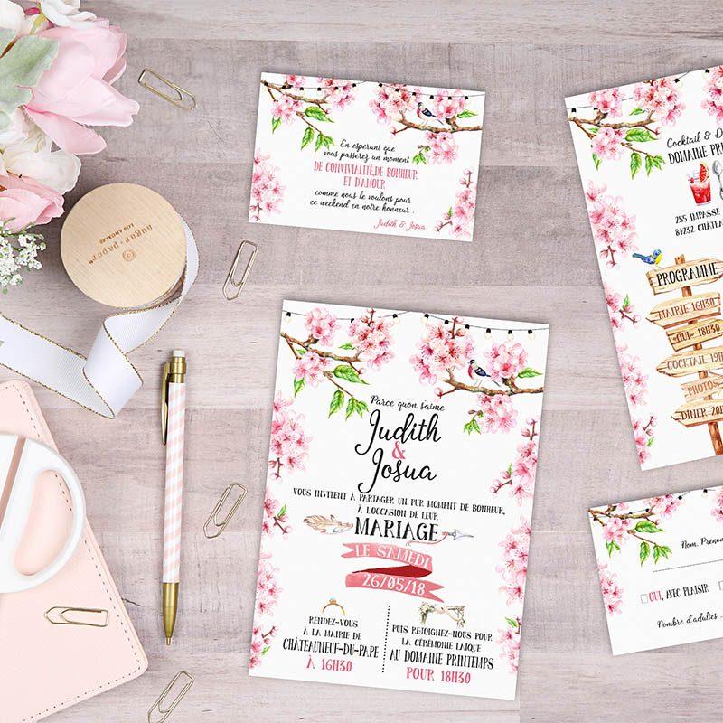Faire-part mariage printanier fleurs romantique champetre chic