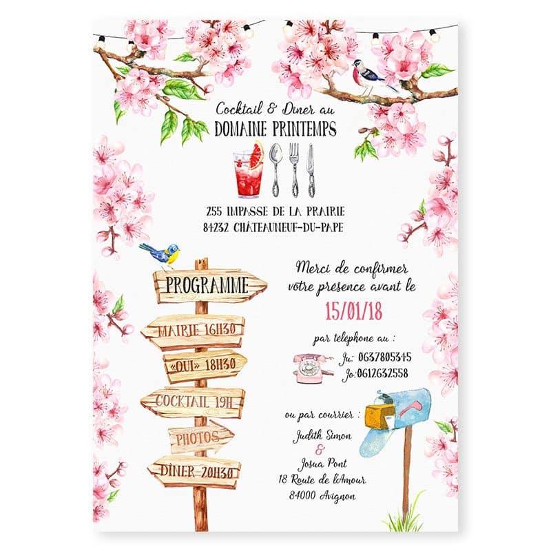 Faire-part mariage printemps cerisier fleurs romantique champetre