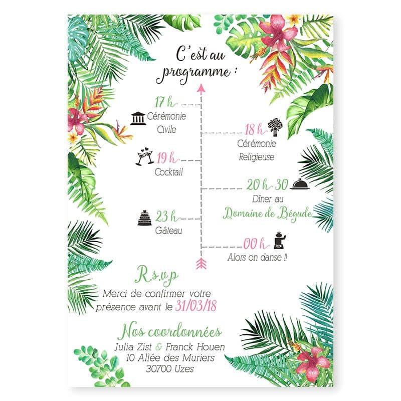 Faire-part mariage tropical exotique fleur oiseaux du paradis hibiscus