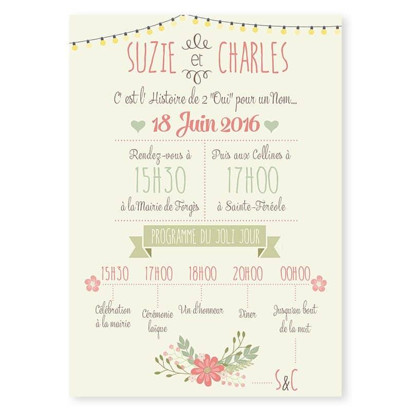 Faire-part mariage vintage guirlandes et fanions