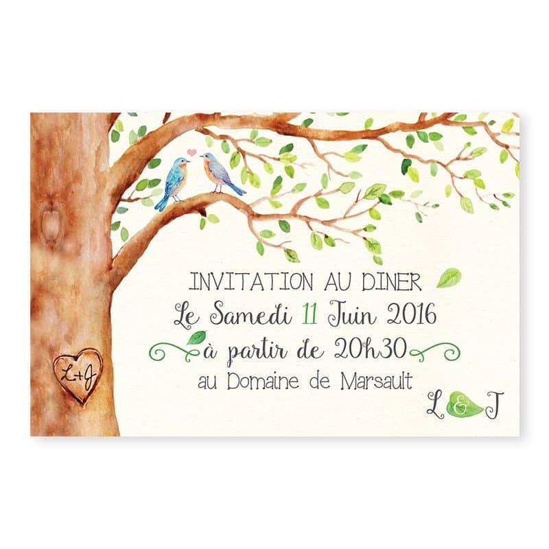 Invitation dîner mariage arbre aquarelle mariage nature chic