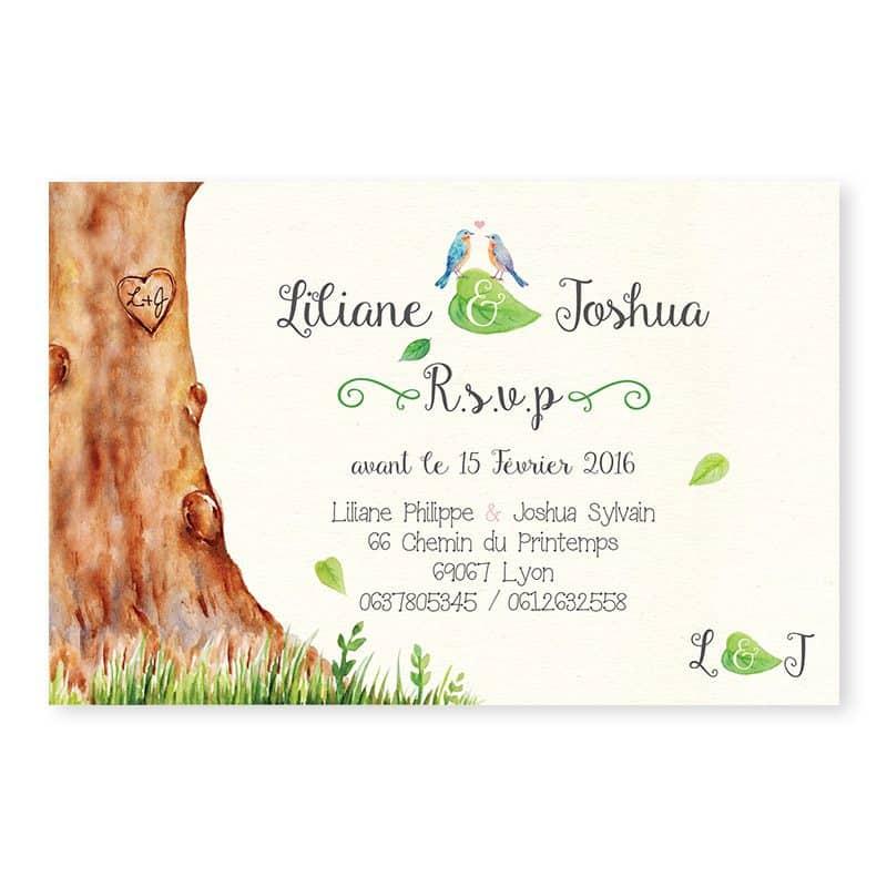 Invitation dîner mariage arbre aquarelle mariage nature chic v