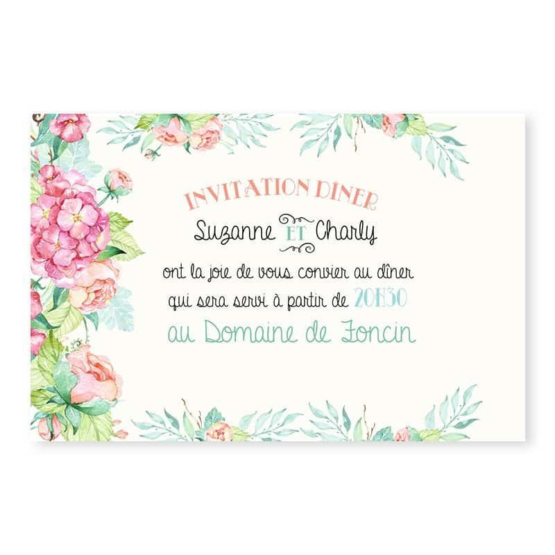 Invitation repas mariage fleurs hortensia feuillage mint chic champetre