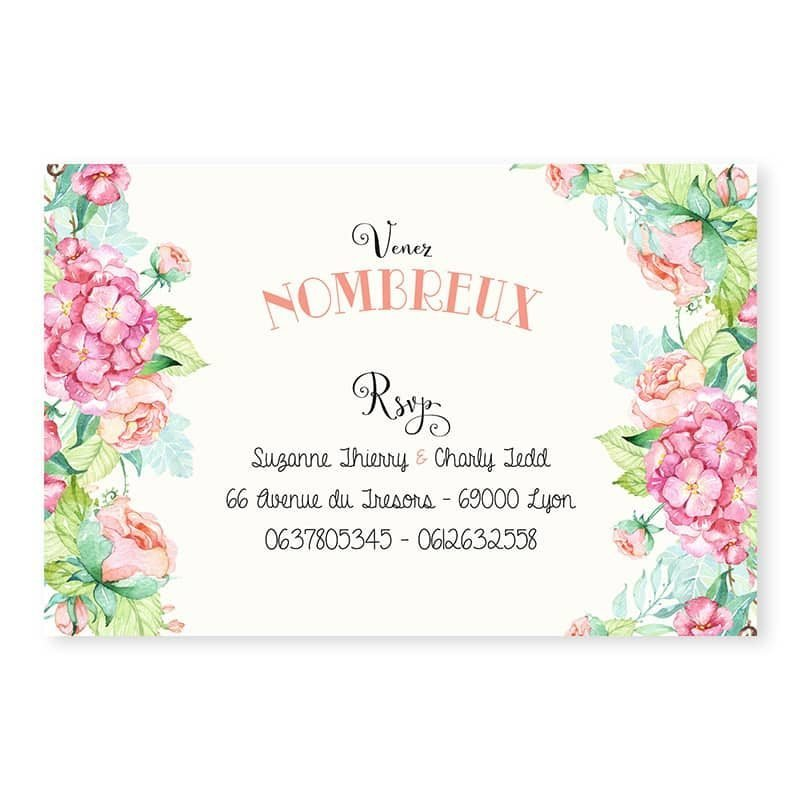 Invitation repas mariage fleurs hortensia feuillage mint chic champetre v