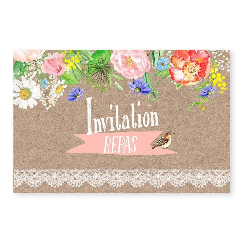 Invitation repas mariage kraft fleurs avec dentelle v