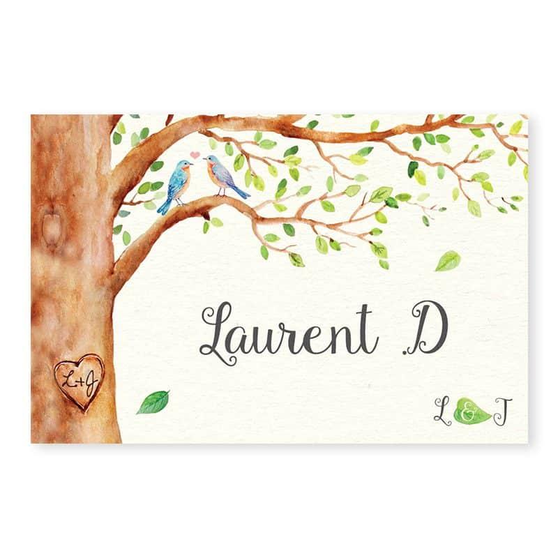 Marque-place mariage arbre aquarelle romantique chic