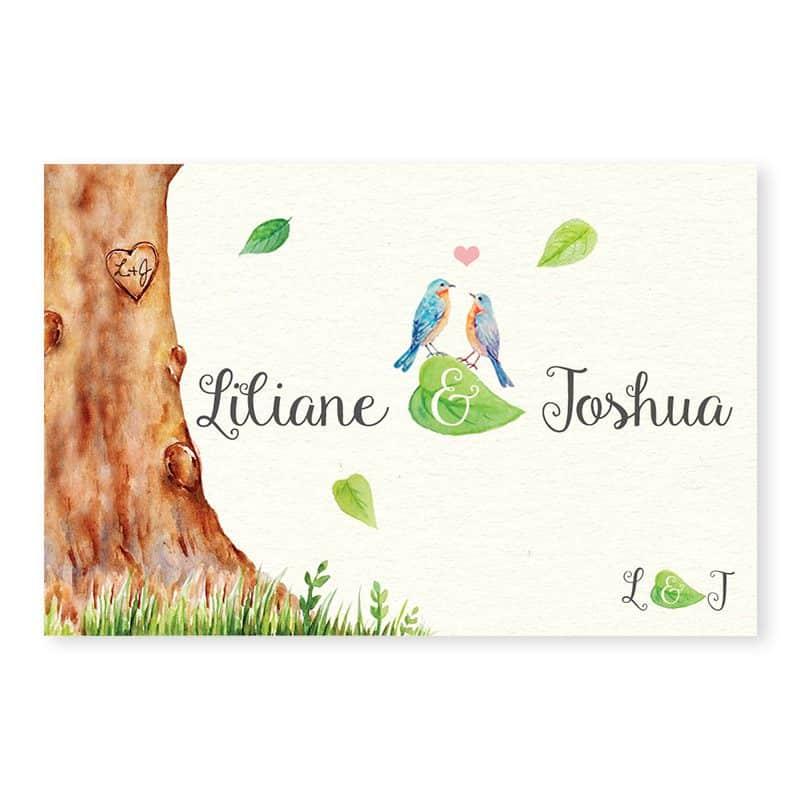 Marque-place mariage arbre aquarelle romantique chic v