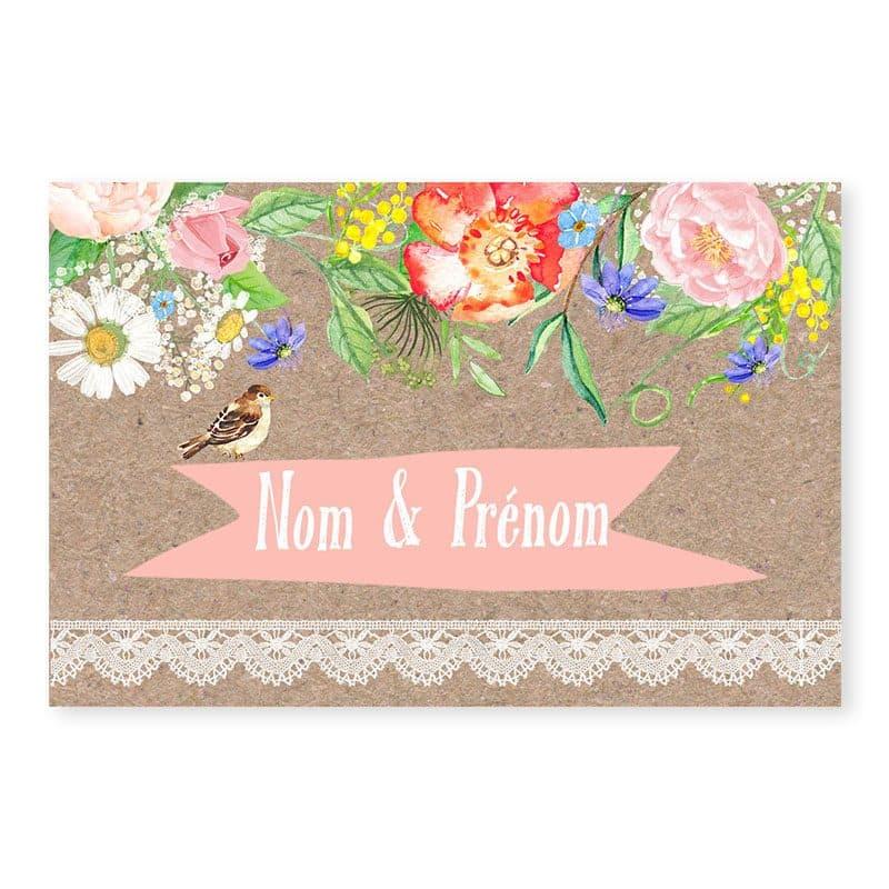 Marque-place mariage champetre chic sur kraft avec dentelle et fleurs