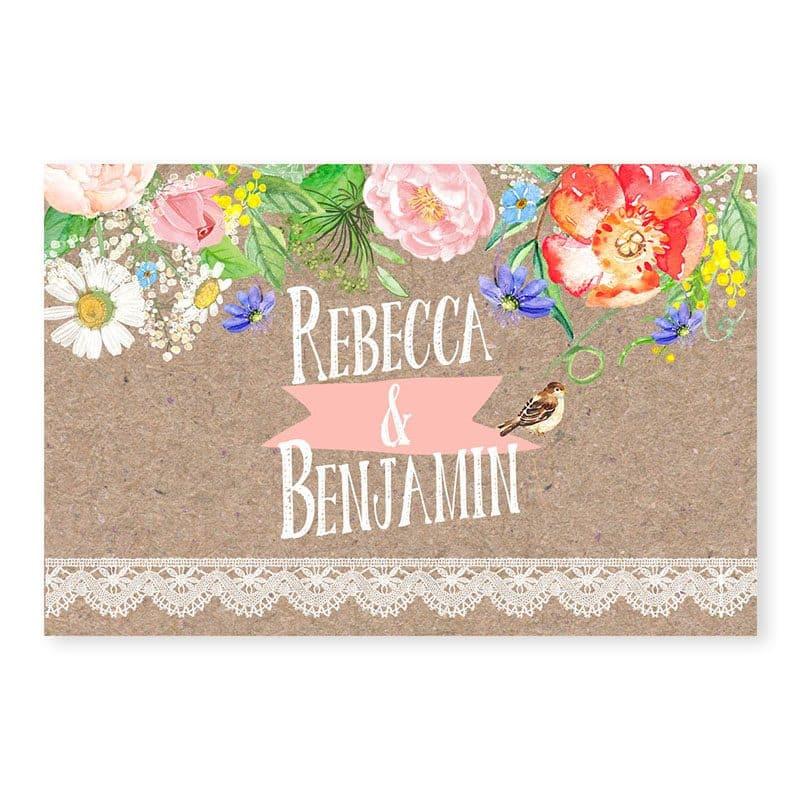 Marque-place mariage champetre chic sur kraft avec dentelle et fleurs v