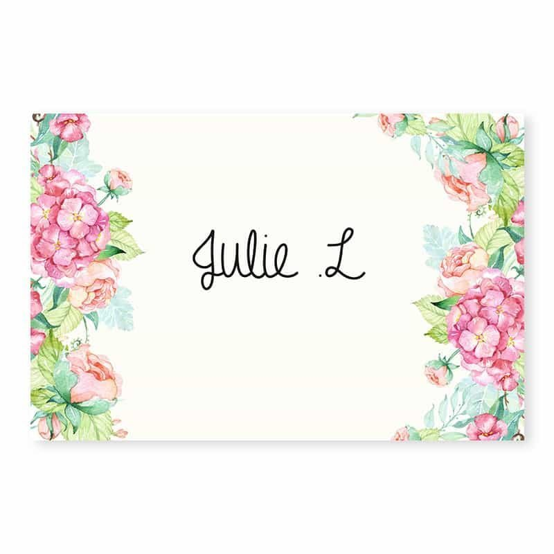 Marque-place mariage fleurs hortensia feuillage mint chic champetre