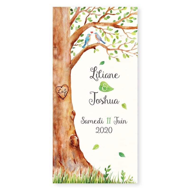 Menu mariage arbre aquarelle nature et romantique v