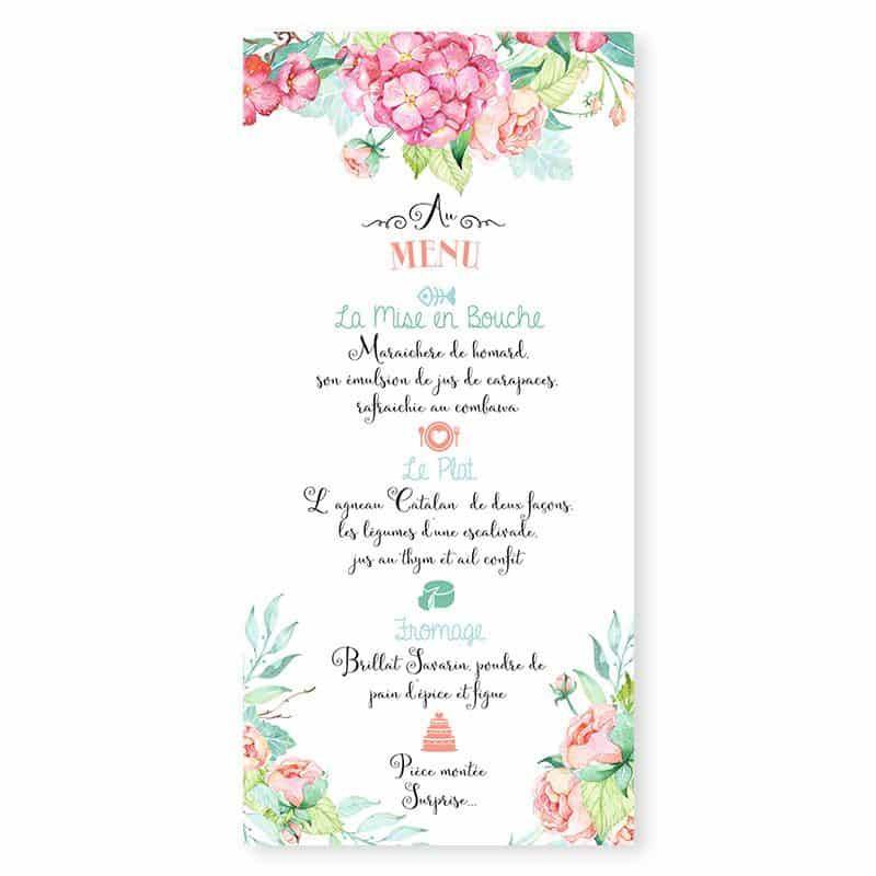 Menu mariage fleurs hortensia feuillage mint pastel