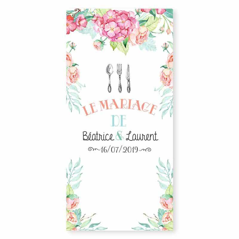 Menu mariage fleurs hortensia feuillage mint pastel v