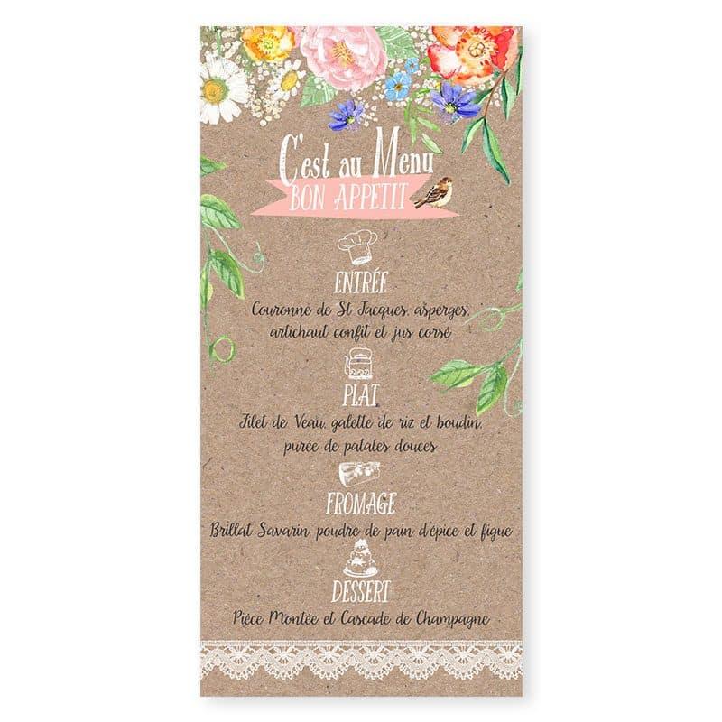 Menu mariage personnalise fleurs aquarelle sur kraft dentelle Champêtre