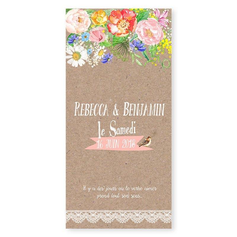Menu mariage personnalise fleurs aquarelle sur kraft dentelle Champêtre v