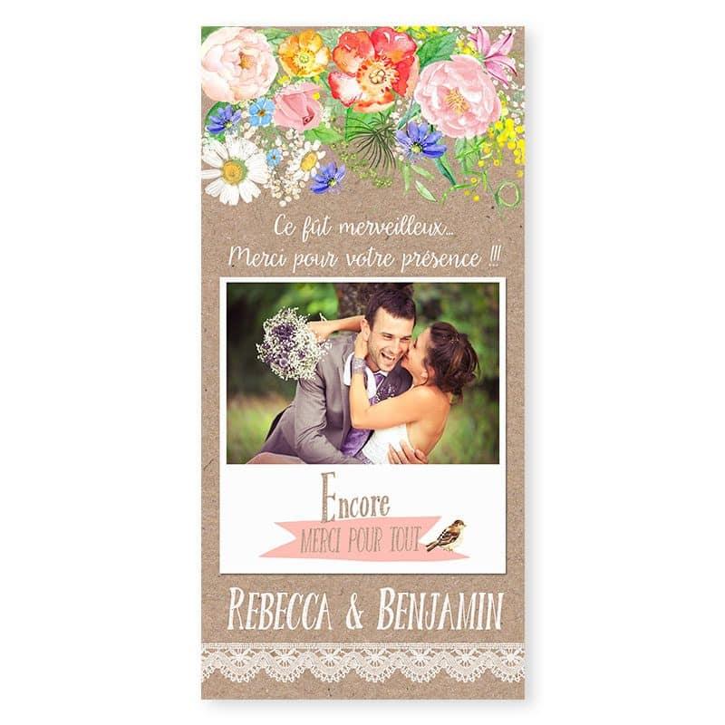Remerciements mariage champetre chic avec photos sur kraft
