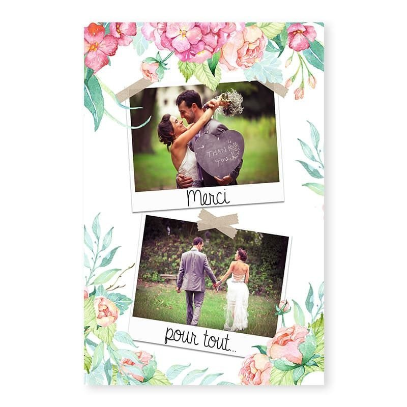 Remerciements mariage fleurs hortensia photos personnalise v