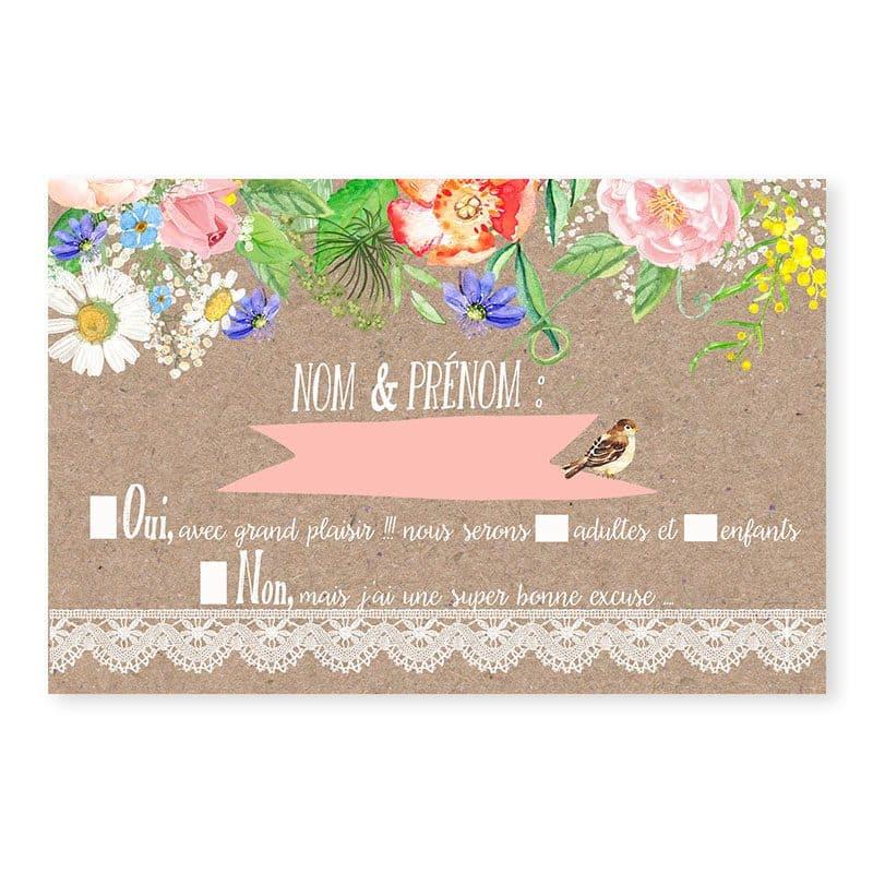 Rsvp mariage champetre chic sur kraft avec dentelle et fleurs