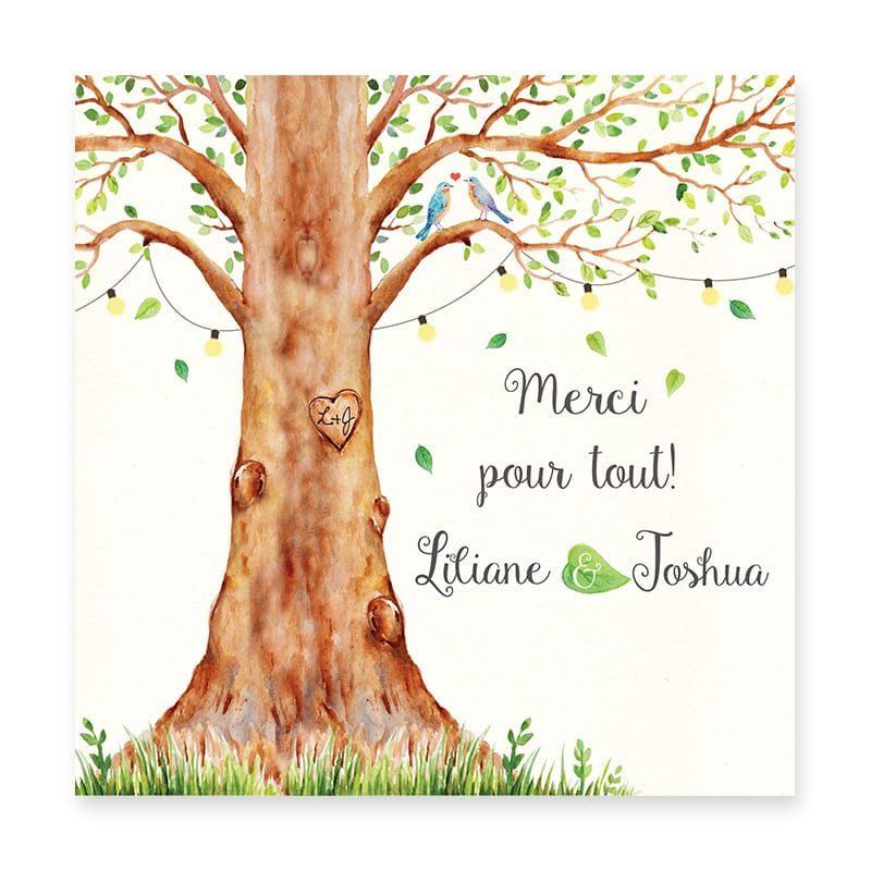carte remerciements mariage arbre aquarelle guirlandes avec photos personnalisable