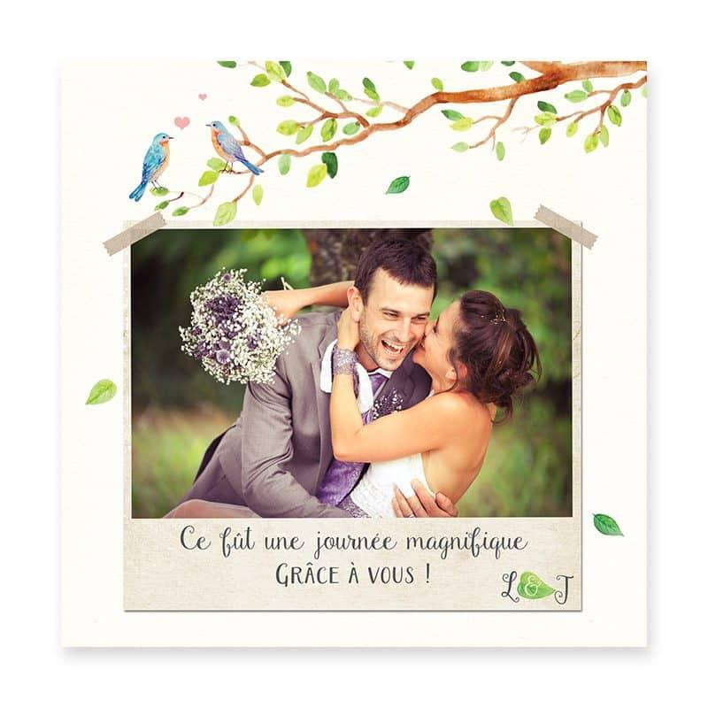carte remerciements mariage arbre aquarelle romantique