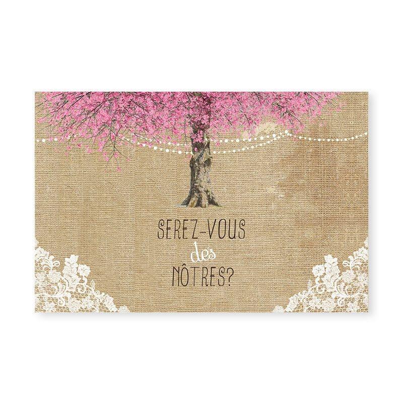 carton reponse rsvp mariage arbre cerisier fleurs romantique v