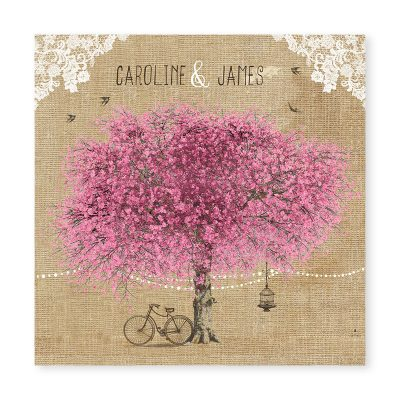 Faire-part mariage arbre en fleurs avec dentelle et guirlandes de guinguette